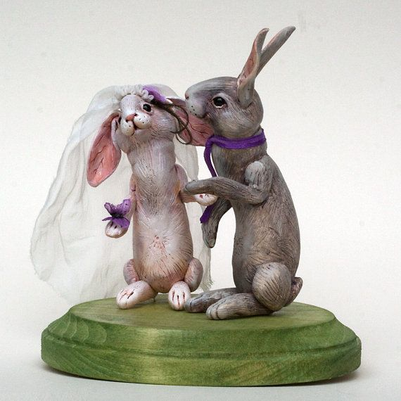Wedding cake topper - Custom Order EXAMPLE ONLY. Polymer clay handpainted miniature by Madre Olius