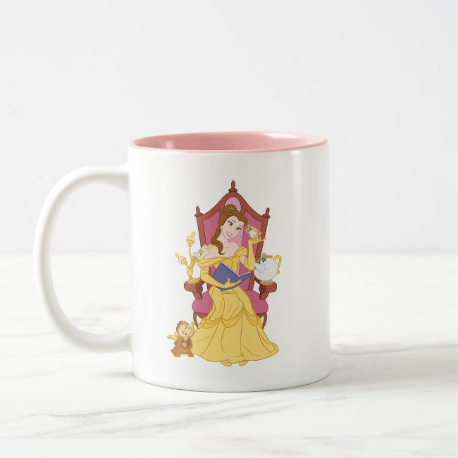Belle Reading to Friends Two-Tone Coffee Mug | Zazzle.com