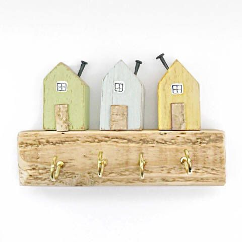 Little House Key Hooks, Miniature Houses, Wood Key Rack, Wooden ...