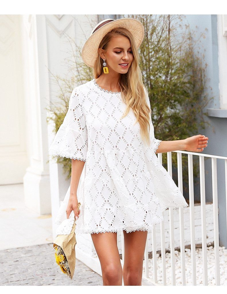 Flare Sleeve Cotton White Lace Dress Gagodeal Short Dress White Mini Dress Casual Lace White Dress