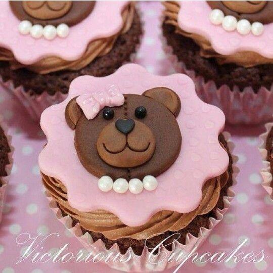 Cupcake decorado ursinhos com pérolas