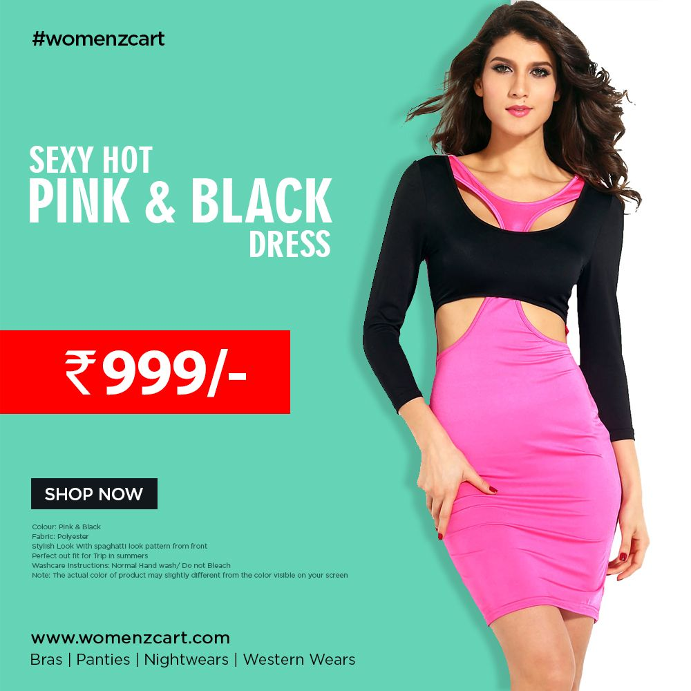 Sexy hot pink & black dress | Pink black, Hot pink and Black