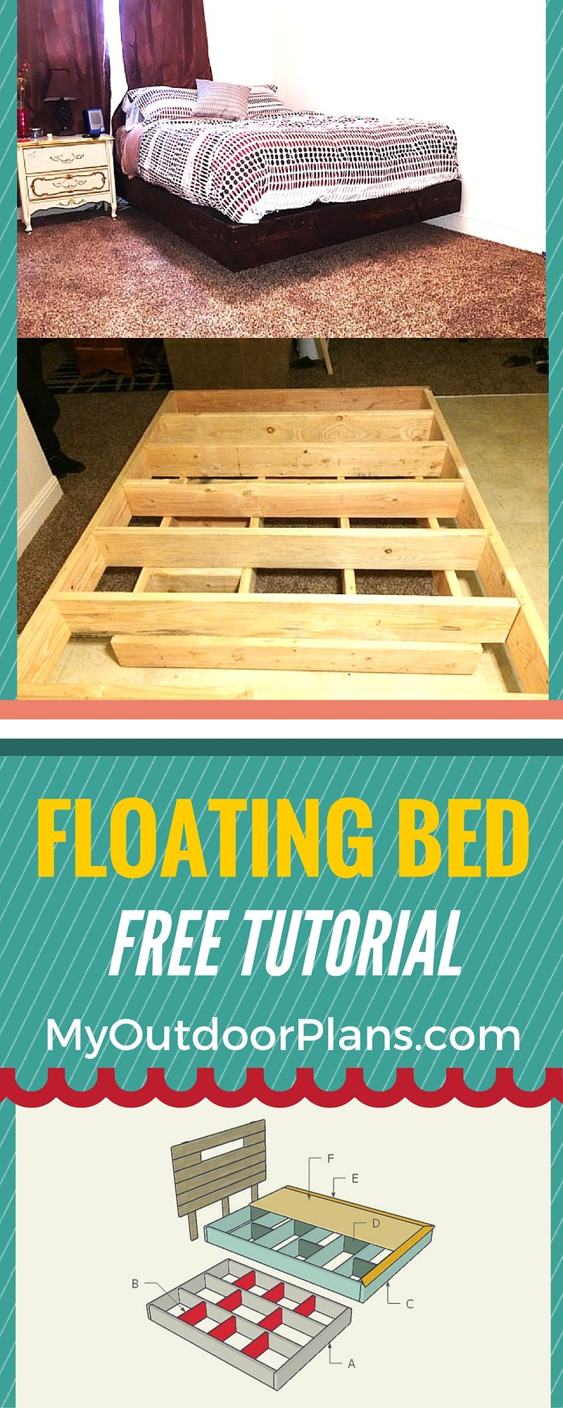 Floating Bed Frame Plans Myoutdoorplans Free Woodworking Plans And Projects Diy Shed Wooden Playhouse P Floating Bed Frame Floating Bed Floating Bed Diy