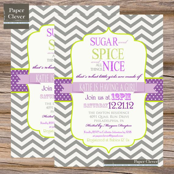 sugar and spice baby girl baby shower invitation – frenchkitten, Baby shower invitations