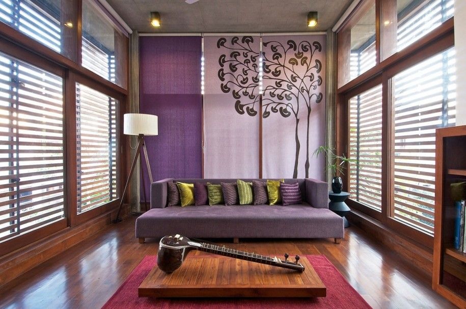 interior contemporary fresh and cool wooden green house interior design by hiren patel architects purple sofa with purple and green cushions placed in - Purple House Interior