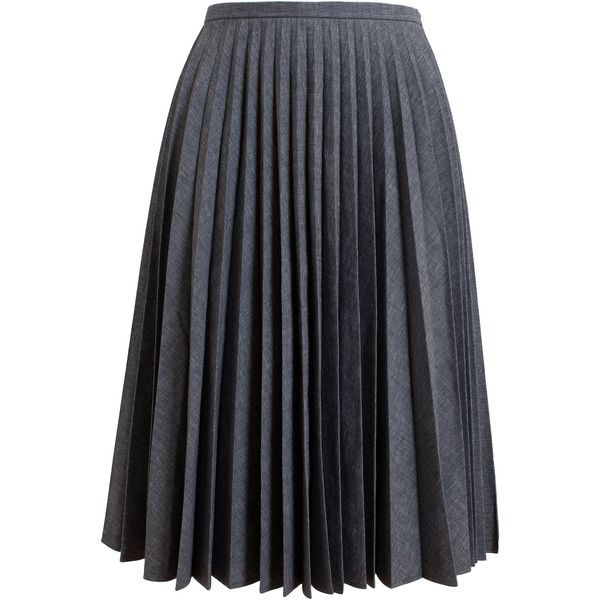 J.W.ANDERSON Pleated Cotton Skirt ($330) ❤ liked on Polyvore featuring skirts, j.w. anderson, below knee skirts, cotton skirts, knee length pleated skirt and cotton pleated skirt