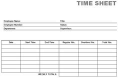 printable time card template