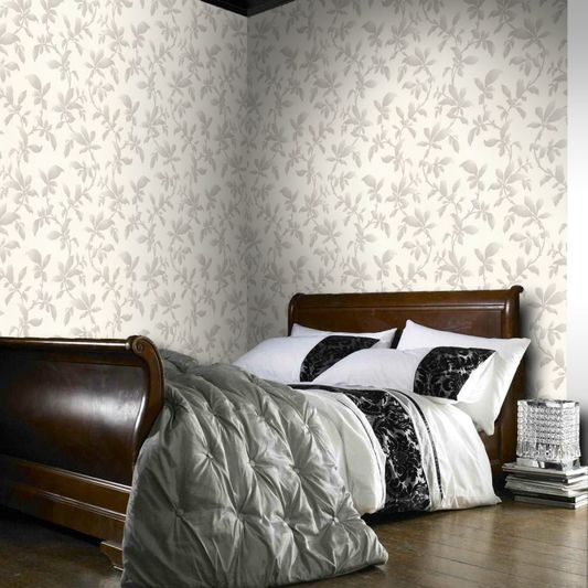 Graham & Brown Sarra Silver Wallpaper White, silver