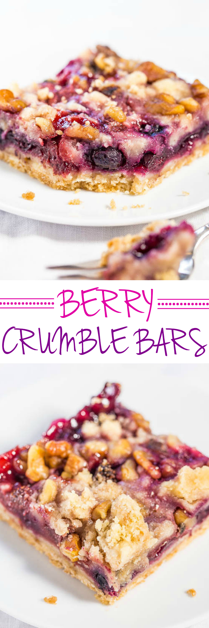 Berry Crumble Bars - Averie Cooks #berrycrumble Berry Crumble Bars - Averie Cooks