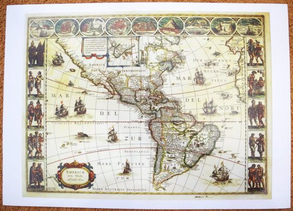 Blaeu World Map.Amerique Blaeu Antique World Maps Old World Map Illustration