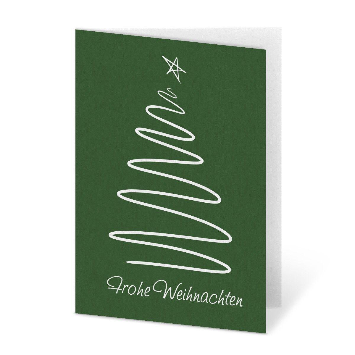 weihnachtskarten gezeichneter tannenbaum in gr n. Black Bedroom Furniture Sets. Home Design Ideas