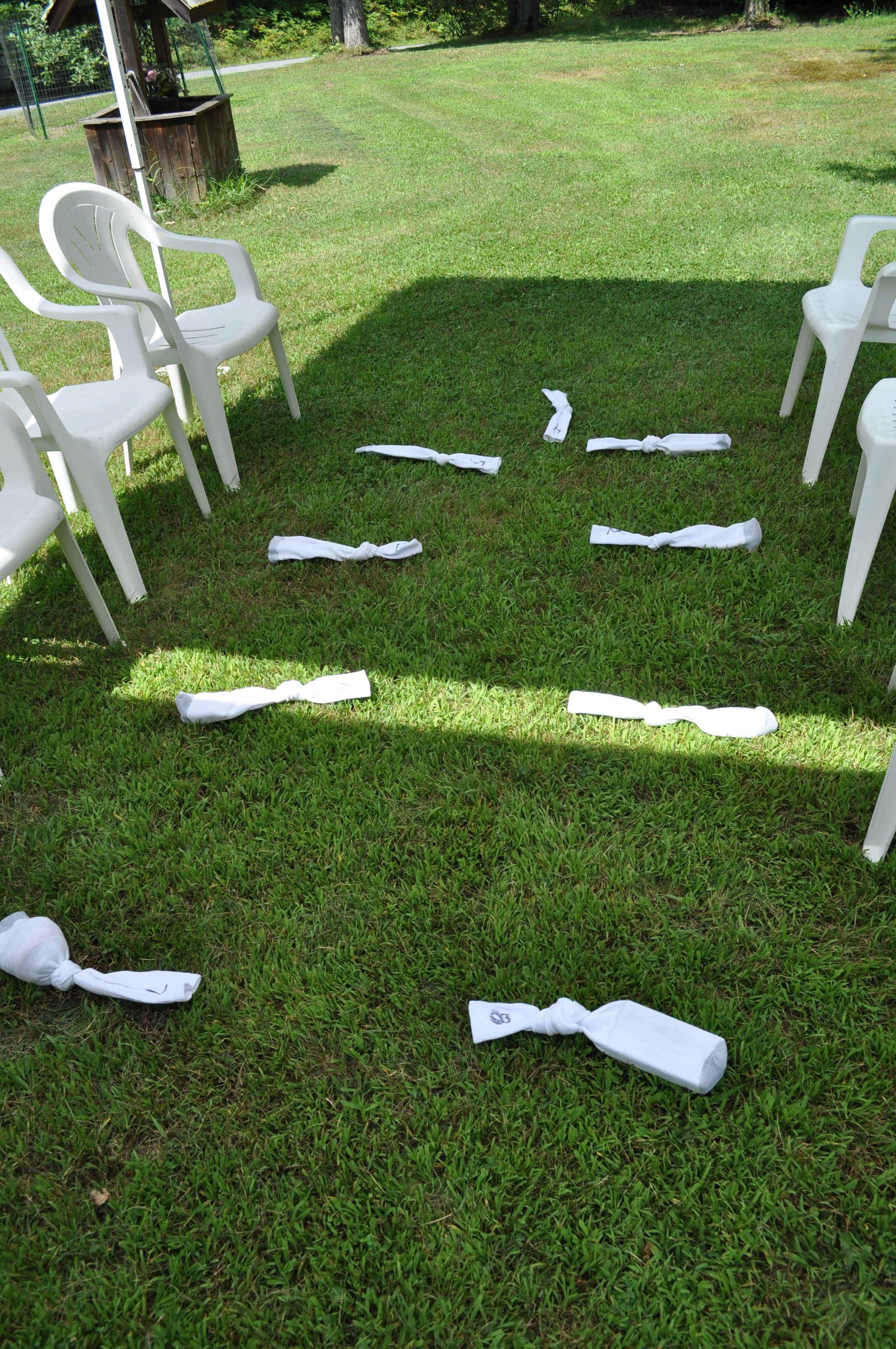 """Bridal Shower game: """"What's in the sock?"""" place items that the bride might need on her honeymoon in long socks and number them.  Guest can only touch socks with their feet to guess what's in the socks.  Person with the most correct answers wins.  Have bride to be open the socks to reveal what's inside :)"""