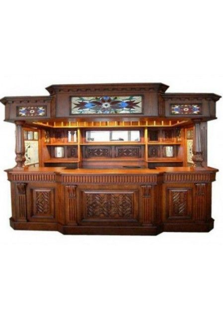 Irish fitzpatrick solid mahogany tavern home pub ireland bar with tiffany glass canopy bar - Bar canopy designs ...