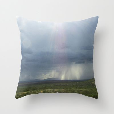 Divine Throw Pillow by Pajaritaflora -  Rays of divine light descending upon us all ! Or a trick of light. Clouds, rays, blue, grey, rain, storm, rain storm. mountain