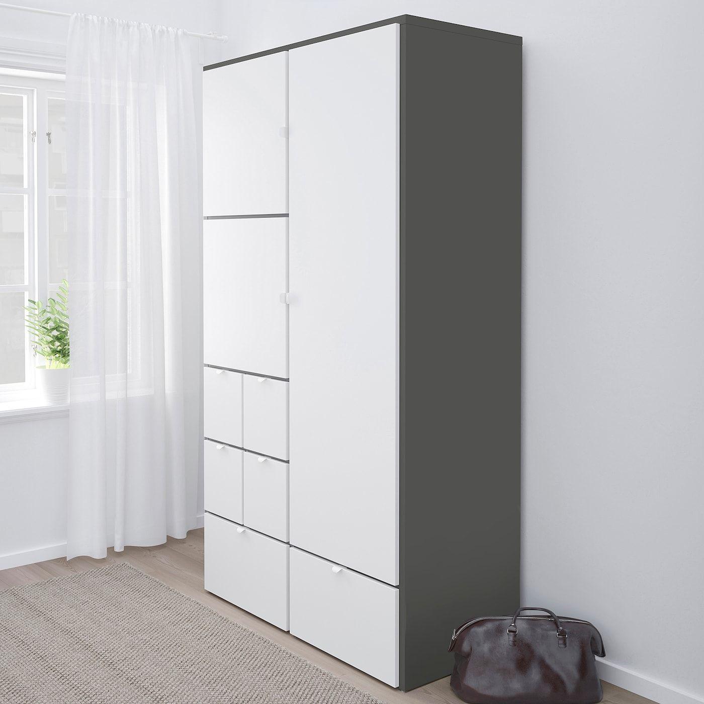 Ikea Visthus Kleiderschrank Kasten Grau Weiss In 2020 Kleiderschrank Grau Kleiderschrank Kinderzimmer Ikea Kinderzimmer Kleiderschrank