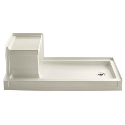 Kohler Tresham 60 X 32 Single Threshold Right Hand Drain Shower Base With Integral Left Hand Seat Finish Almond In 2020 Shower Base Shower Wall Kits Acrylic Shower Base
