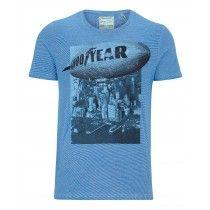 Goodyear Men Comfort Fit T-Shirt Sundown (Blue/White Stripes) | 400514-3080