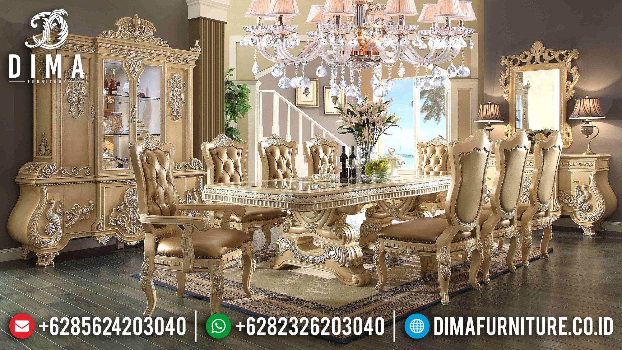 Meja Makan Mewah Jepara Ukiran Klasik Terbaru Eropa Cat Duco Ivory St 0520 Set Ruang Makan Meja Makan Set Meja Makan