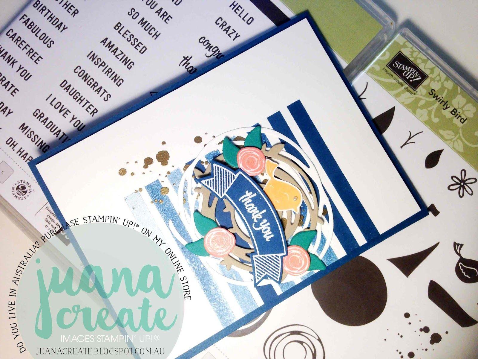 Juana Ambida | Thoughtful Swirly Bird | Kylie's International Blog Highlight - Thank You theme. Handmade card using new products in the new catalogue. #Stampinup, #Juanacreate