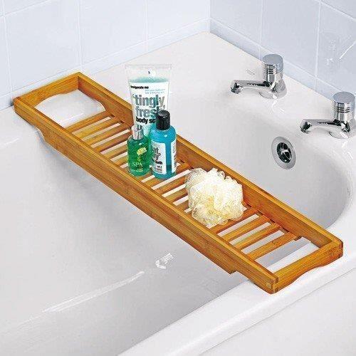 Bamboo Over Bath Rack Tidy Bathroom Storage Stand Tray Tub Shelf ...