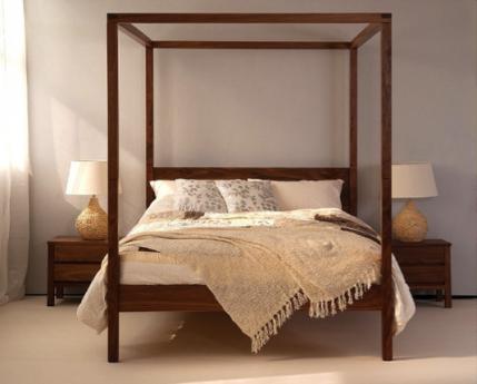 Himmelbett 180 x 200 Amore Akazie massiv Holz Doppelbett