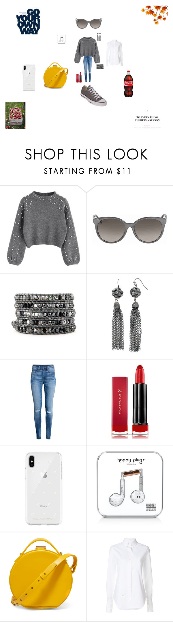"""""""Untitled #589"""" by hanna-debruhl ❤ liked on Polyvore featuring Gucci, H&M, Max Factor, Rebecca Minkoff, Happy Plugs, Nico Giani, Thom Browne and Converse"""