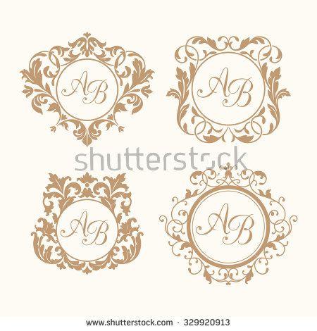 Set of elegant floral monogram design templates for one or two - wedding labels template