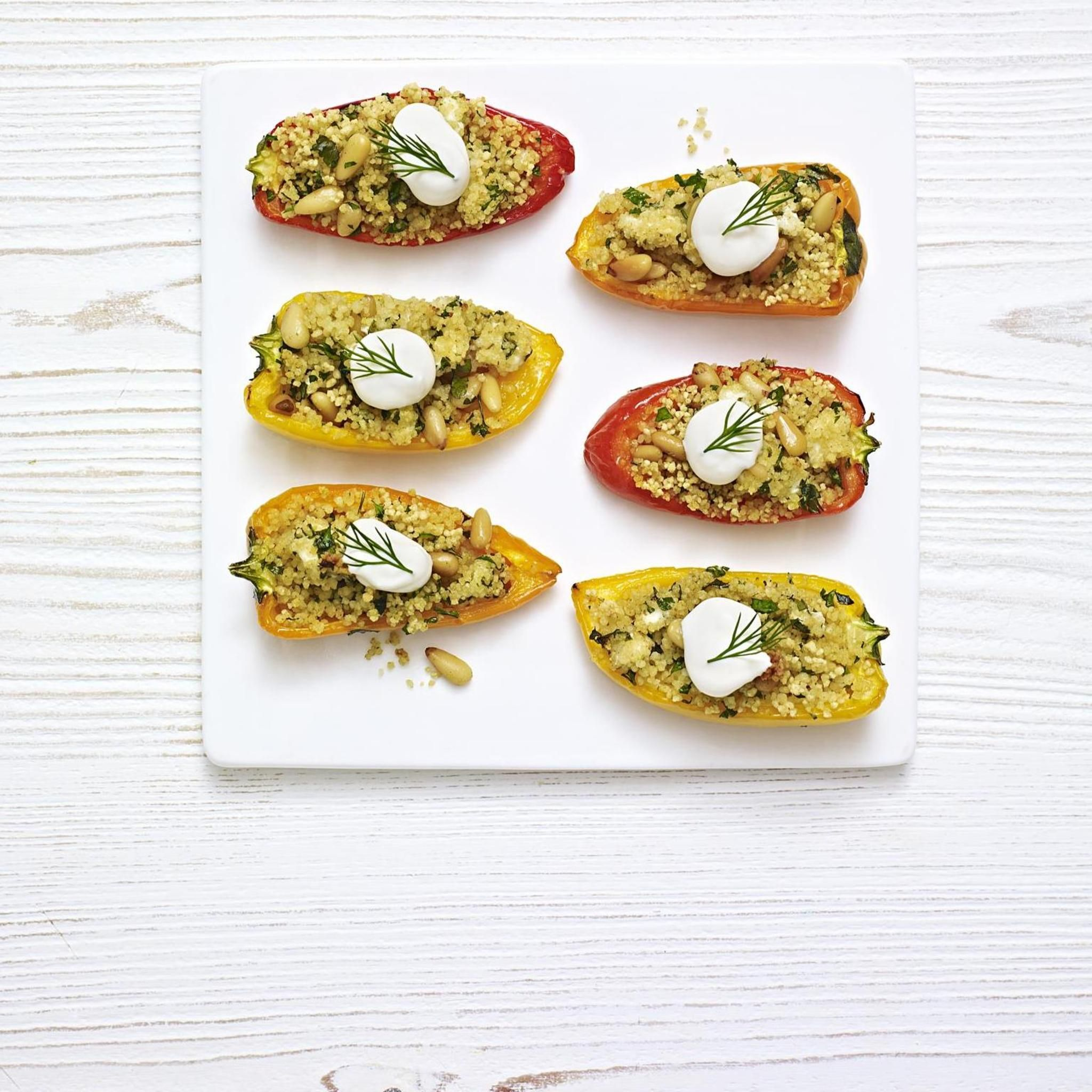 Herby couscous stuffed baby peppers a delicious recipe from the new herby couscous stuffed baby peppers a delicious recipe from the new ms app forumfinder Image collections
