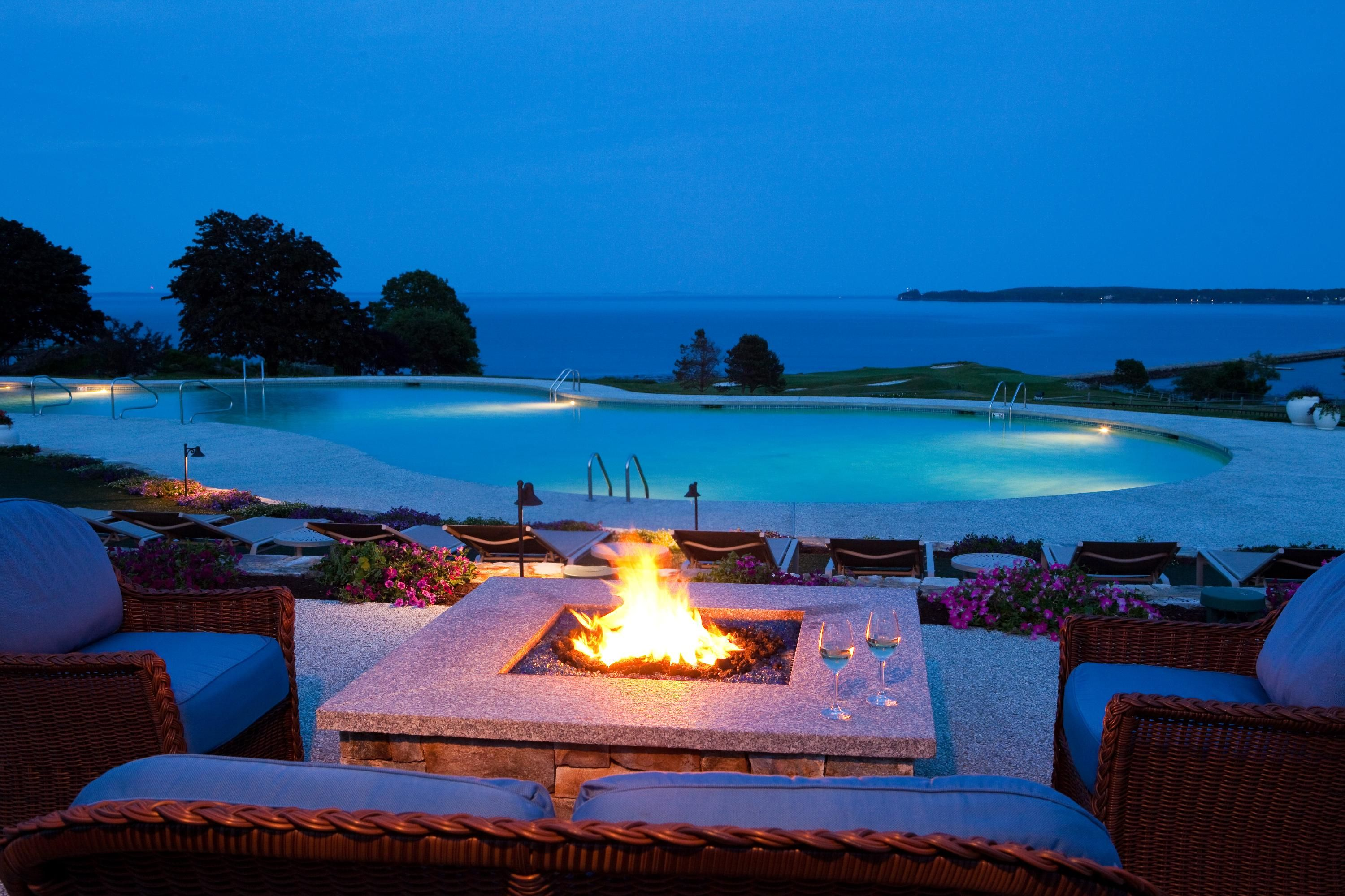 Romantic fire place by the pool at Samoset Resort in
