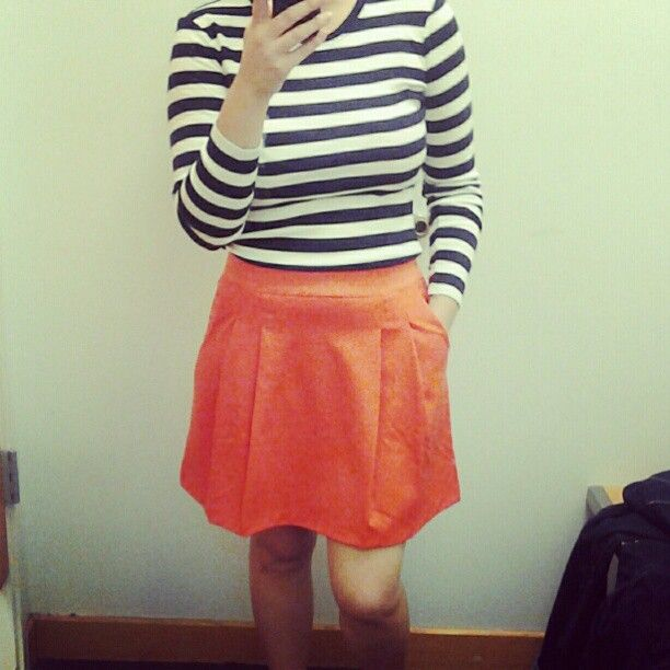 Navy and white striped top and red skirt! Photo by jtrumb