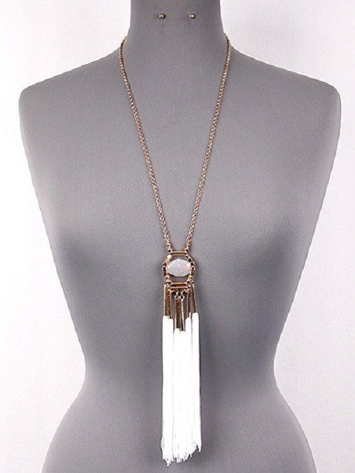 white #tassel #fringe #boho necklace