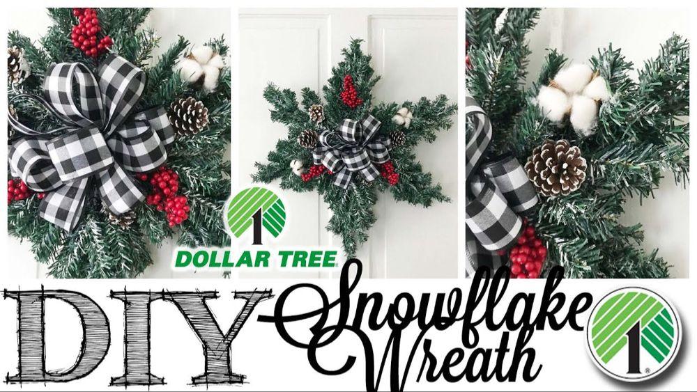 DIY Dollar Tree Christmas Wreath SNOWFLAKE YouTube