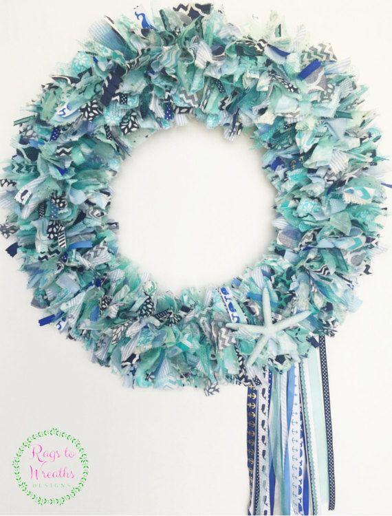 Summer Wreath Sale 30% OFF-Beach Wreath, Fabric Ribbon Wreath, Rag ...