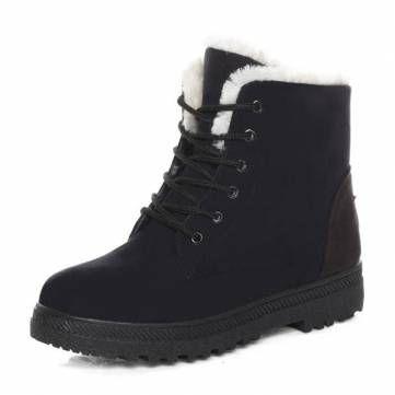 fa301f2f3c3 New Women Winter Keep Warm Flat Lace Up Non-Slipper Plush Martin Boots Snow  Boo - US 21.98