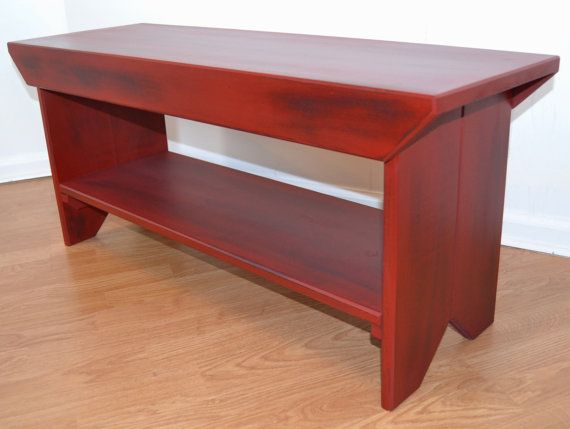 Entryway Wood Bench Red Over Black  Entry Bench, Mudroom Bench, Porch Bench