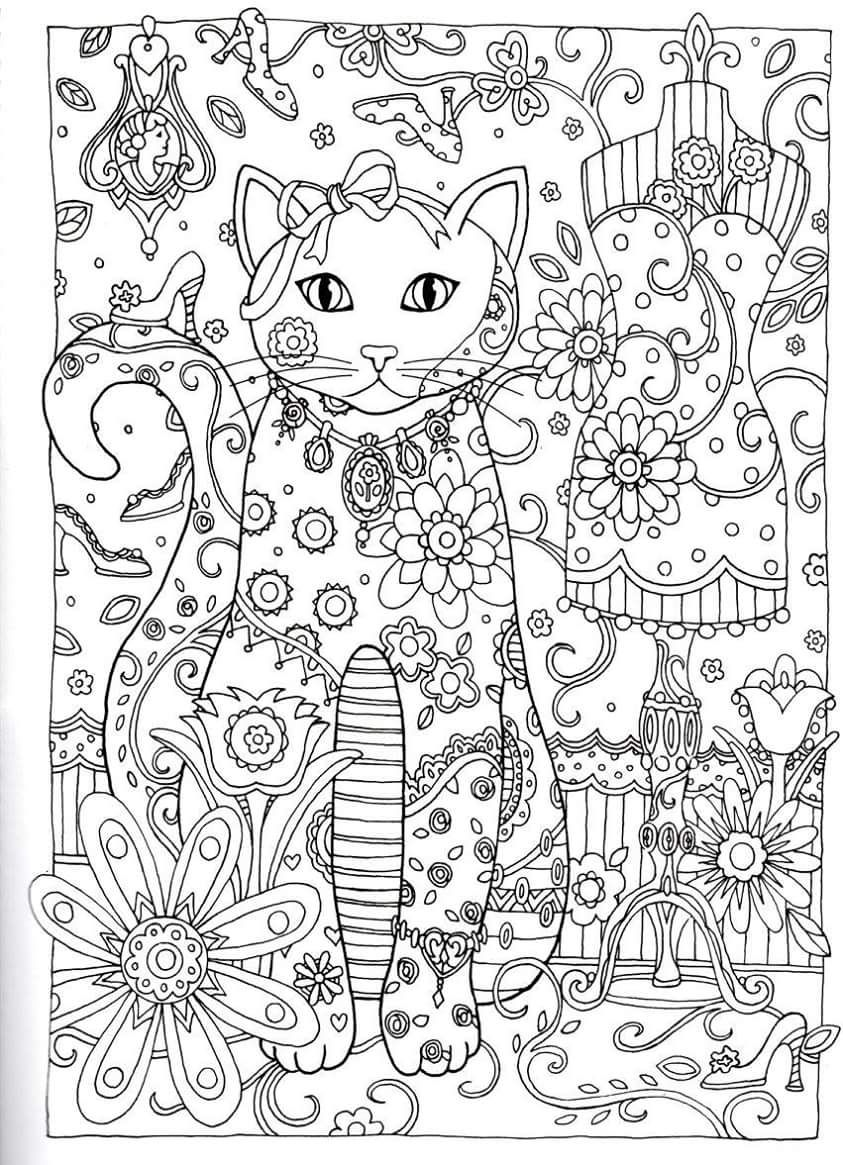 Gatos para Colorir | Cats & Dogs Coloring For Adults Art Pages ...