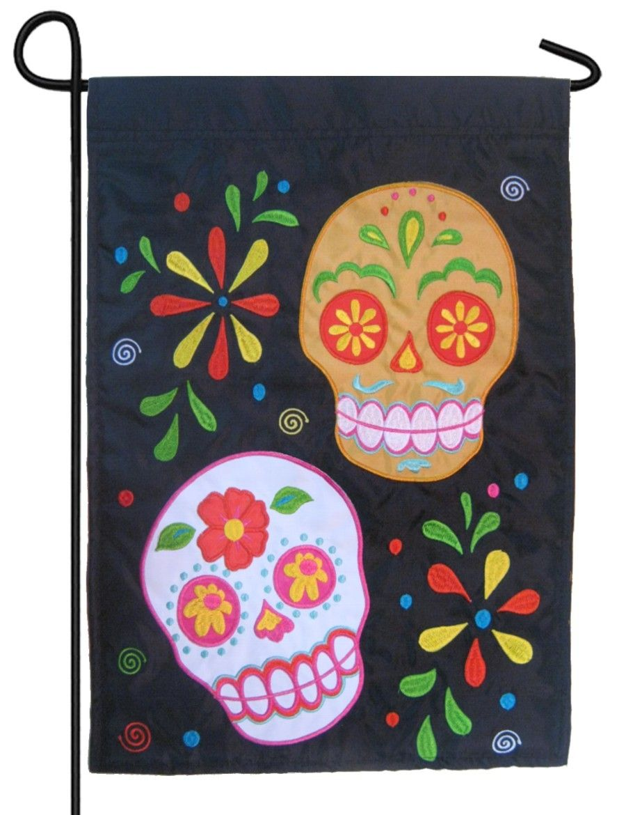 sugar skulls double applique garden flag | halloween house flag's