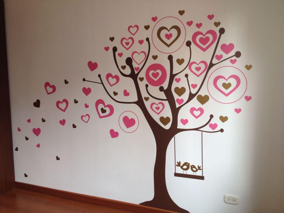Wall decal - Árbol de corazones rosados y dorados en vinilo