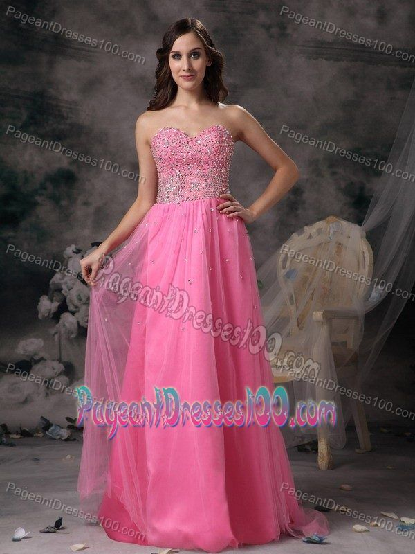 Beaded Sweetheart Hot Pink Beauty Pageant Dresses Floor-length ...