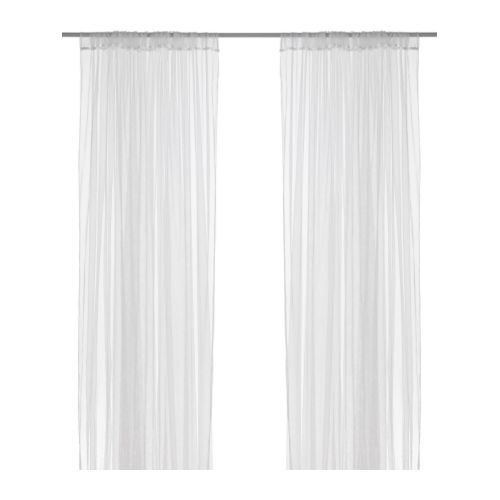 Two layered of white tulle with Satin Ribbon on the edge.  2 Panels Material - TULLE Pattern - Sheer Curtain with POLE Pocket Color - WHITE Sizes - 54 W X 90 H inch (length is customizable)  Light Wei