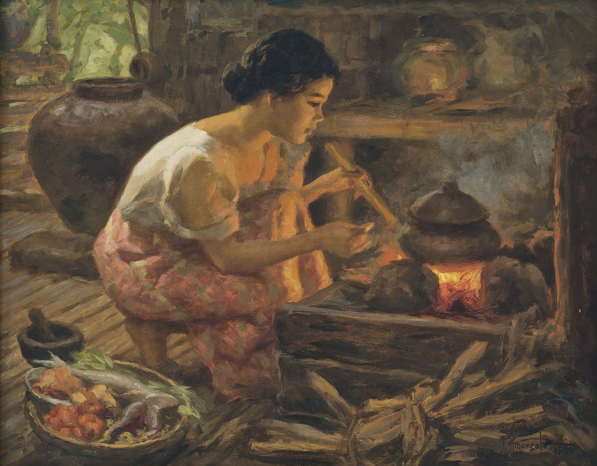 FERNANDO CUETO AMORSOLO GIRL PREPARING A MEAL Signed