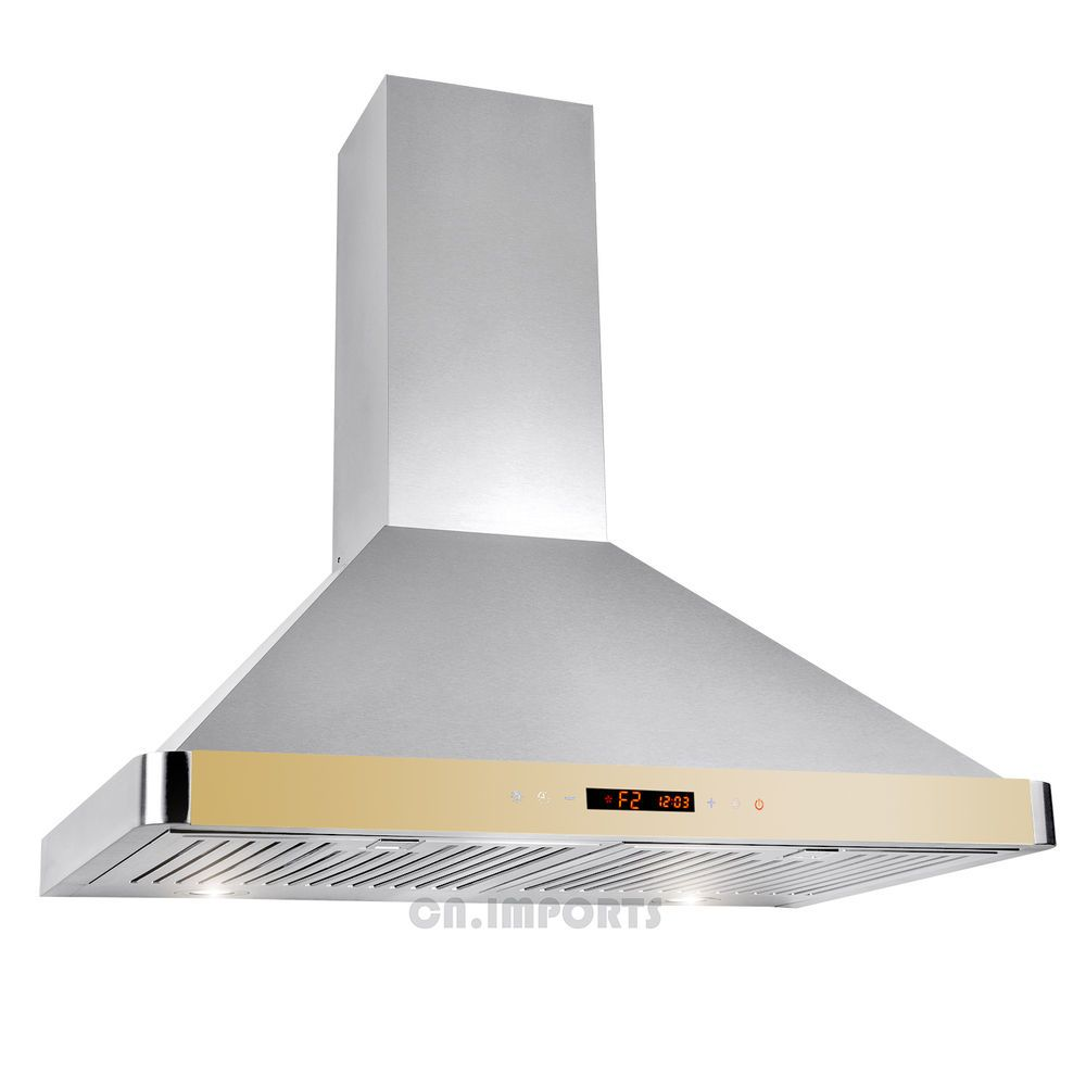 30 Stainless Steel Wall Mount Kitchen Range Hood W Modern Gold Touch Control Steel Wall Kitchen Range Hood Modern Gold Kitchen