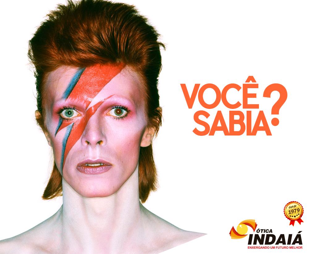 Você sabia que David Bowie tinha um olho de cada cor?  Isso mesmo! Ele sofria de heterocromia que é causada por excesso ou falta de melanina, podendo ser um resultado da genética, doença ou machucado.