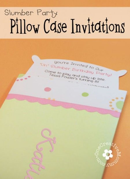Pillow Case Un Slumber Party Invitations One Creative Mommy