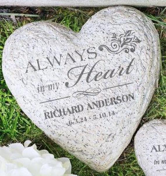Engraved Memorial Heart Garden Stone Garden Decor Garden Etsy In 2020 Memorial Garden Stones Garden Stones Memorial Garden