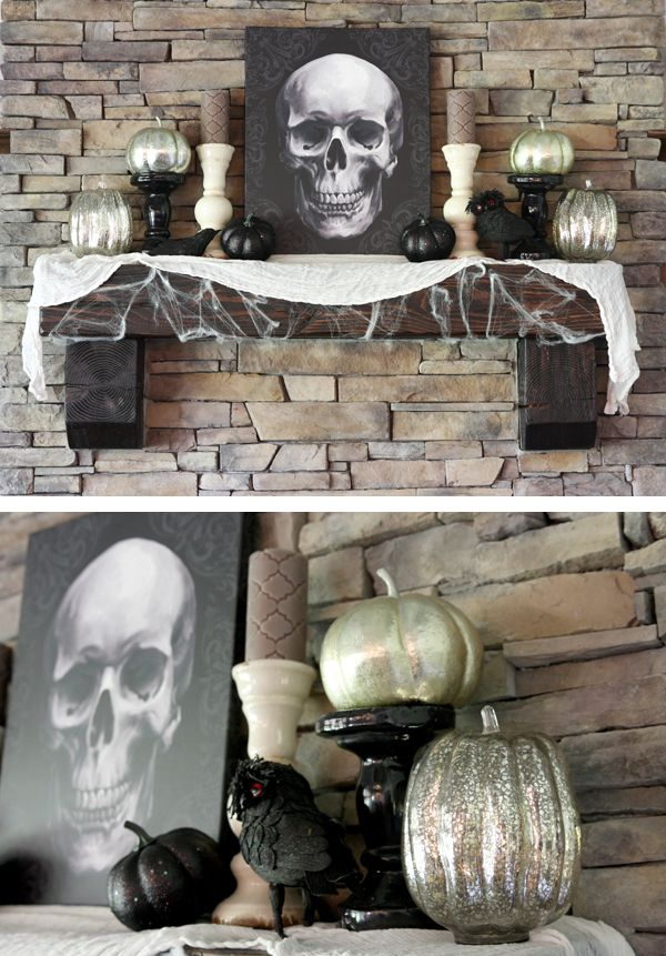 Spooky Fall Mantle Idea. Add some creep and keep it classy ...