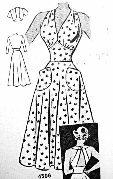 Late 1940s Stunning Sun Dress and Bolero Jacket Pattern Anne Adams Original 4596 Vintage Sewing Pattern Figure Flattering Midriff Dress With V Neckline and Strappy Back Perfect Day or Evening Dress Bust 34