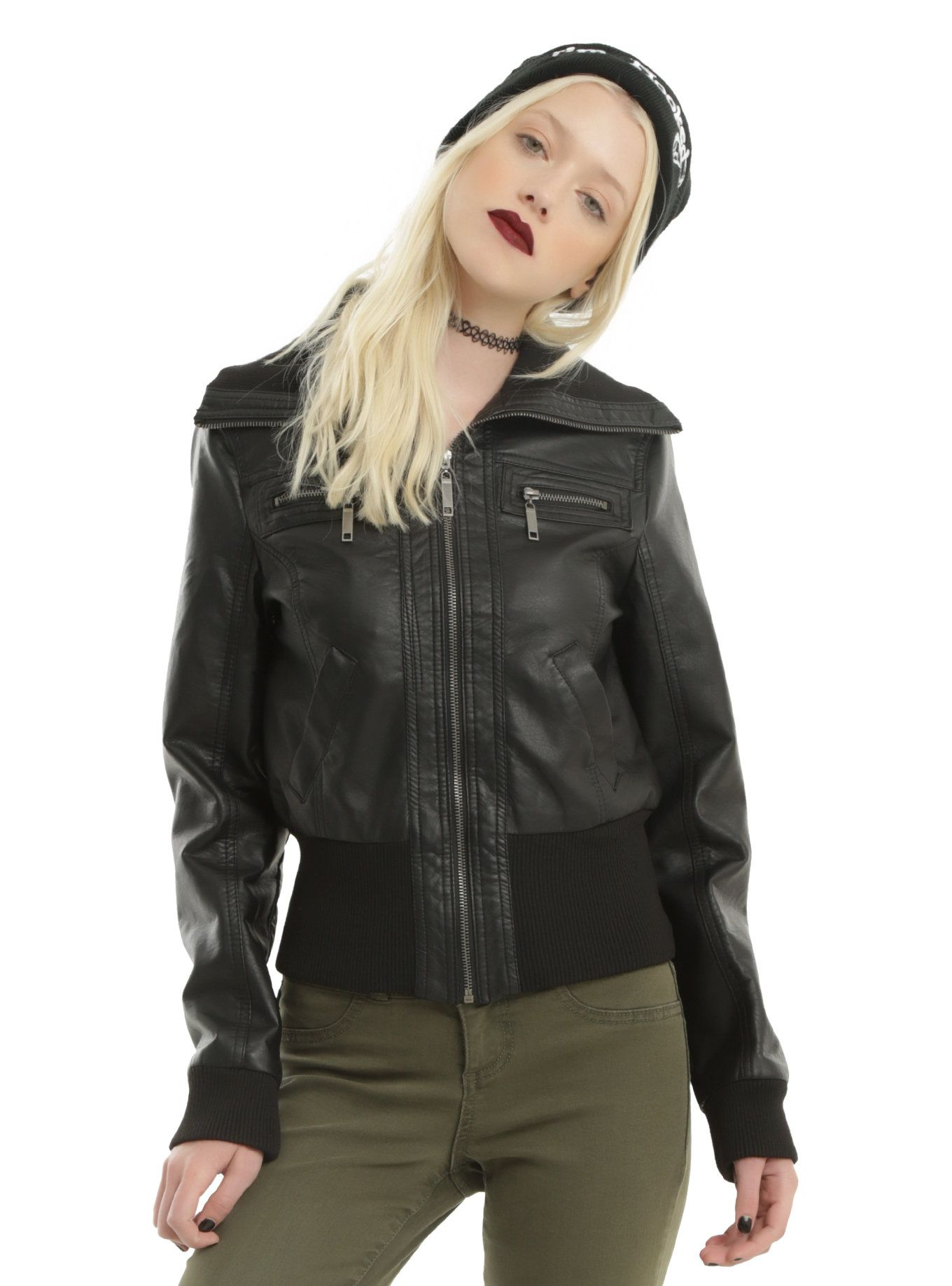 5ec0456e60f Black Wide Ribbed Collar Girls Faux Leather Jacket | Wish List ...