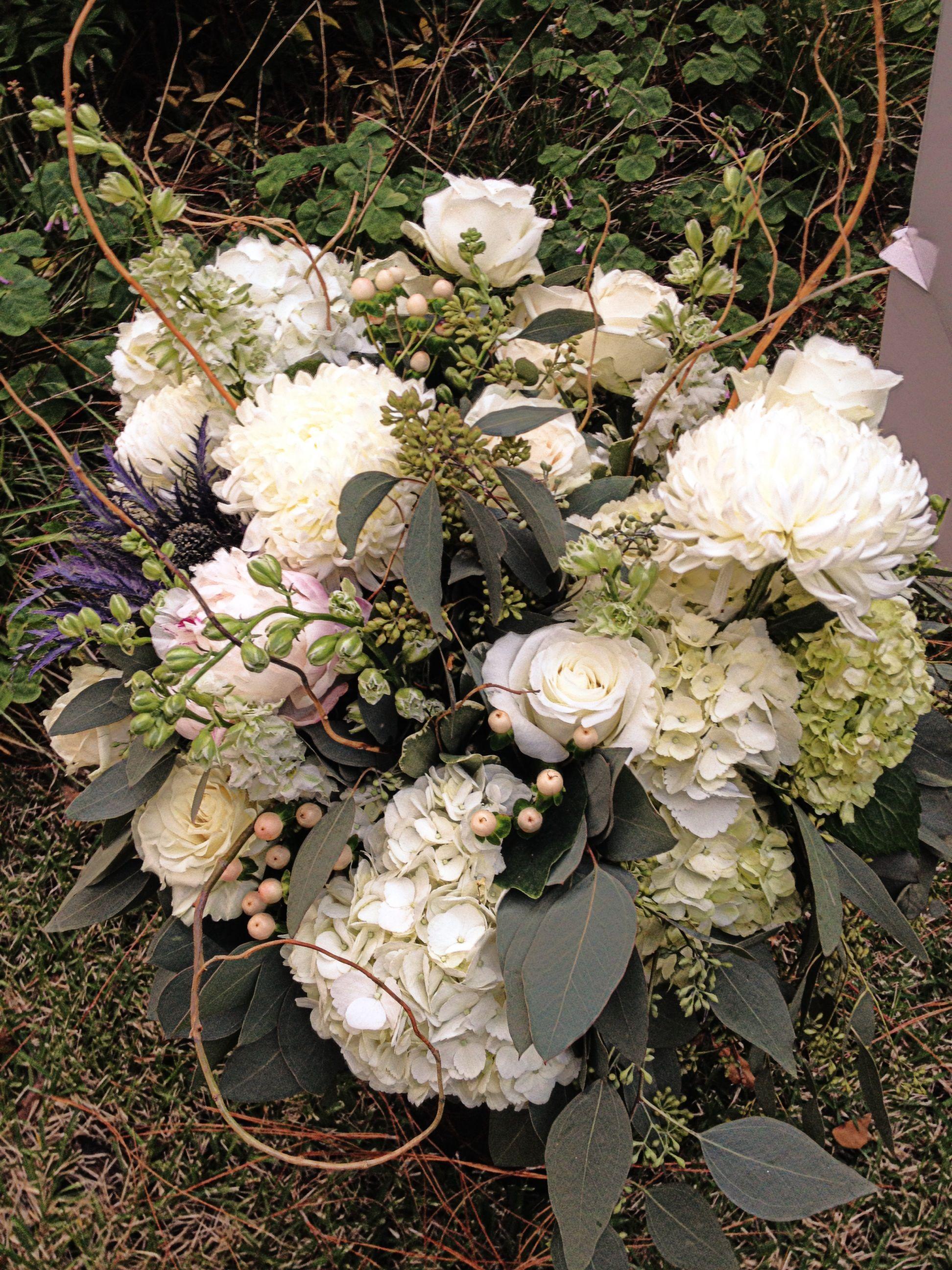 White Peonies And Eucalyptus Bouquet