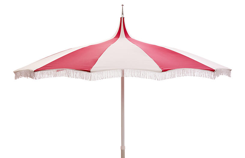 Ari Pagoda Fringe Patio Umbrella Hot Pink White Hot Pink White